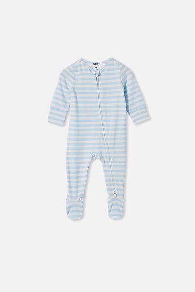 The Long Sleeve Zip Romper, HANNAH STRIPE WHITE WATER BLUE/VANILLA