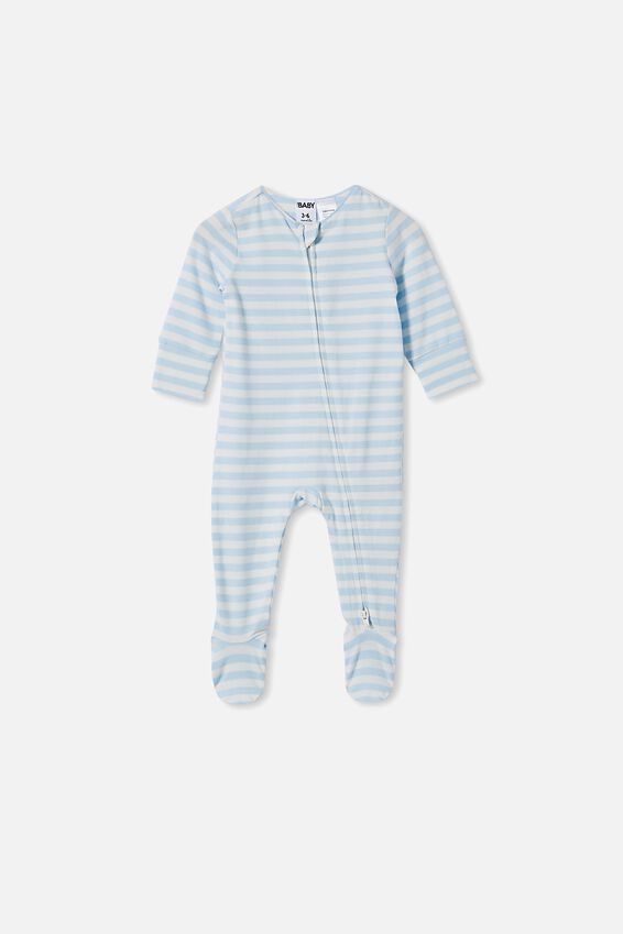 The Long Sleeve Zip Romper, HANNAH STRIPE WHITE WATER BLUE/VANILLA