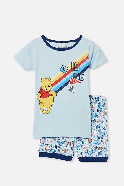 Ted Short Sleeve Pyjama Set Licensed, LCN DIS WINNIE THE POOH/FROSTY BLUE