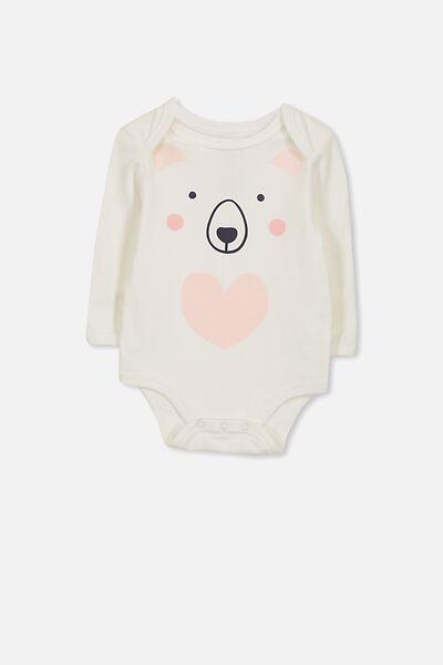 Mini Long Sleeve Bubby, VANILLA/BEAR