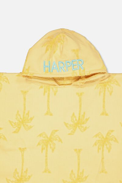 Personalised Hooded Towel, PALM TREE YELLOW