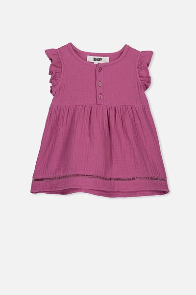 Aurora Ss Dress, LOGANBERRY