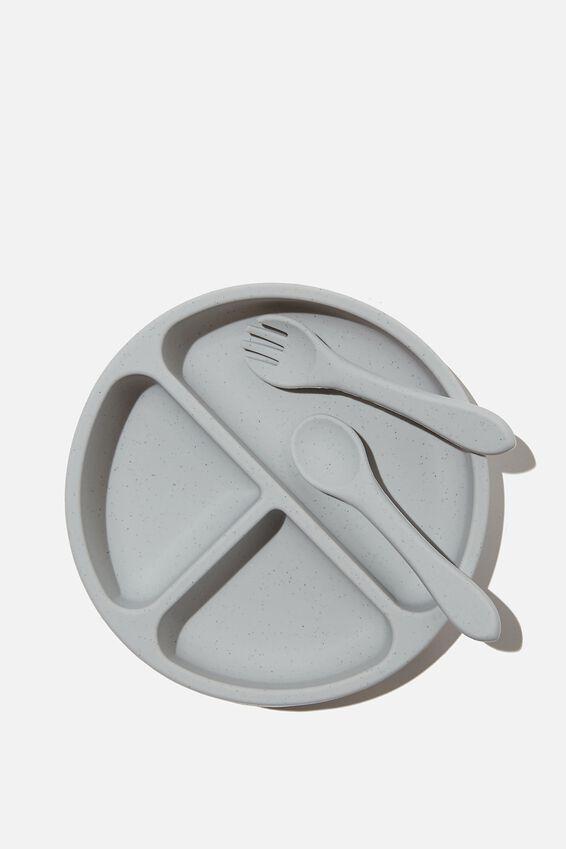 Silicone Plate & Cutlery Set, GREY