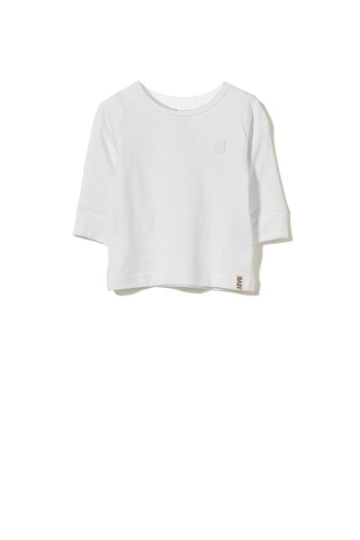 Mini Long Sleeve Tee, WHITE