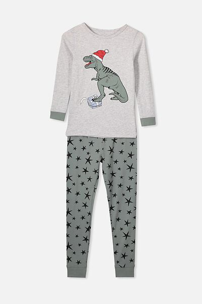 Ethan Long Sleeve Boys Pyjama Set, XMAS DINO