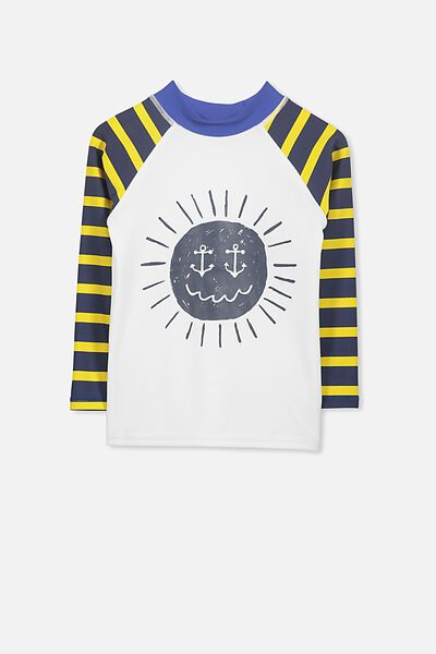Fraser Long Sleeve Rash Vest, YELLOW STRIPE/SUN