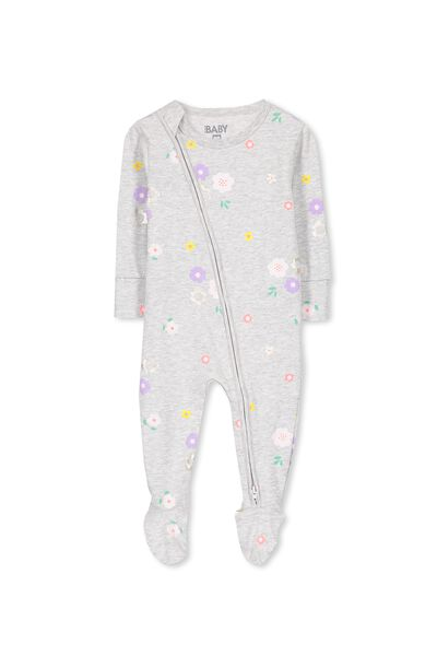 Mini Zip Through Romper, CLOUD MARLE/FLOWER FIELD