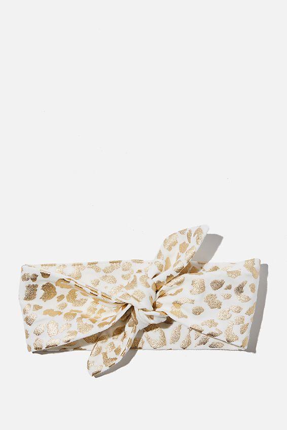 The Tie Headband, VANILLA/FOIL SUMMER OCELOT