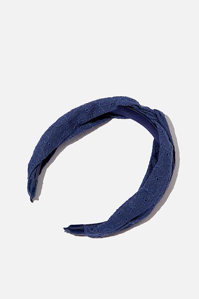Fashion Headband, NAVY DAISY BRODERIE