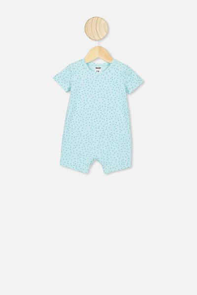 The Short Sleeve Romper, DREAM BLUE SCATTER SPOT
