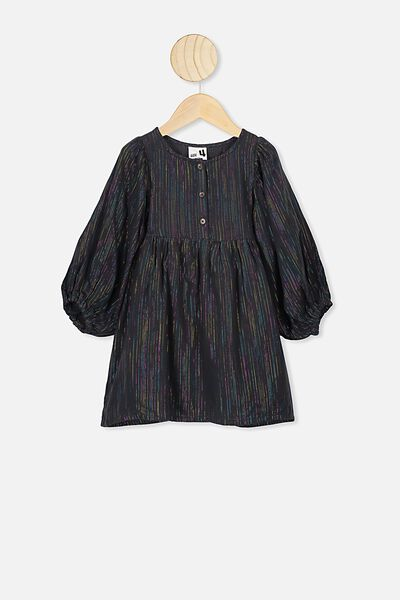 Goldie Long Sleeve Dress, PHANTOM/RAINBOW SPARKLE STRIPE