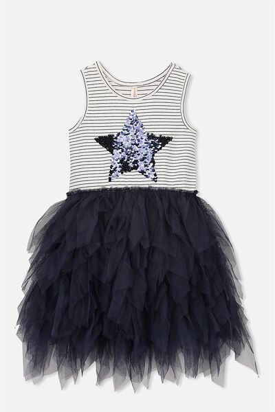 Iris Tulle Dress, INK/STRIPE/STAR