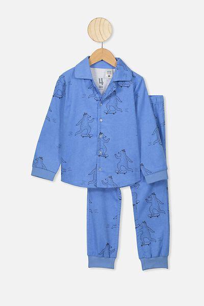 William Flannel Pj Set, SKATEBOARD BEAR/POWDER PUFF BLUE