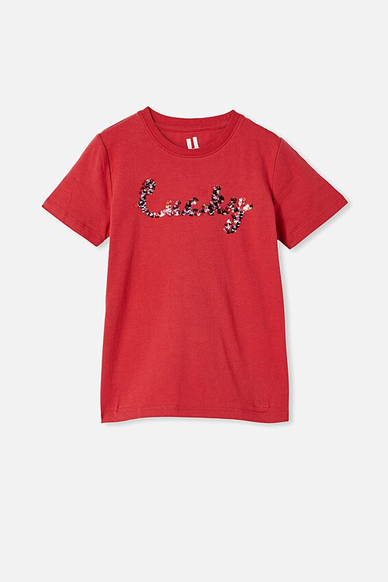 Stevie Short Sleeve Embellished Tee, LUCKY RED/ CONFETTI