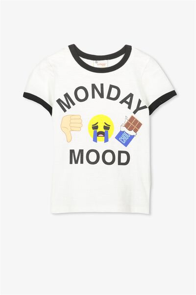 Lux Short Sleeve Tee, EMOJI MONDAY MOOD VANILLA/RINGER