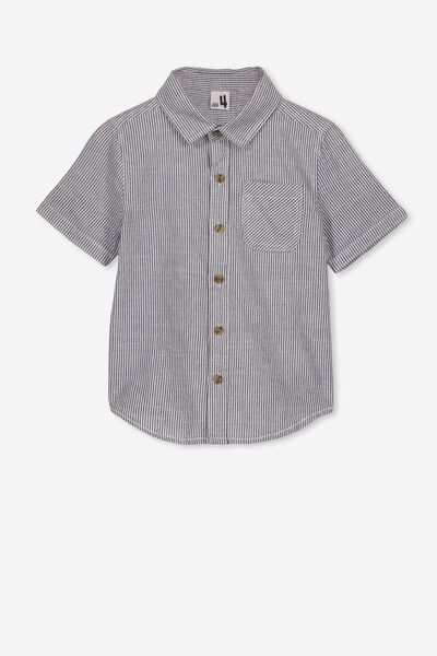 Resort Short Sleeve Shirt, INDIGO/WHITE VERTICAL STRIPE