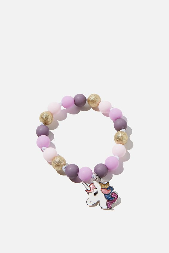 Mixed Beaded Bracelet With Metal Charm, PURPLE UNICORN