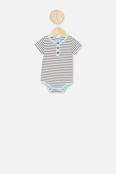 The Short Sleeve Placket Bubbysuit, ASH STRIPE/DREAM BLUE BIND