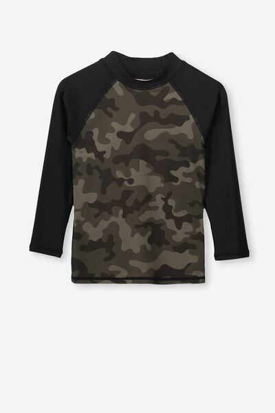 Fraser Long Sleeve Rash Vest, CAMO YARDAGE