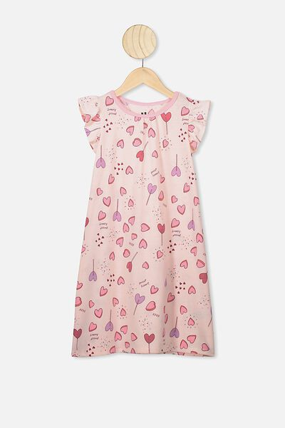 Suzie Flutter Sleeve Nightie, CRYSTAL PINK/SWEET HEARTS