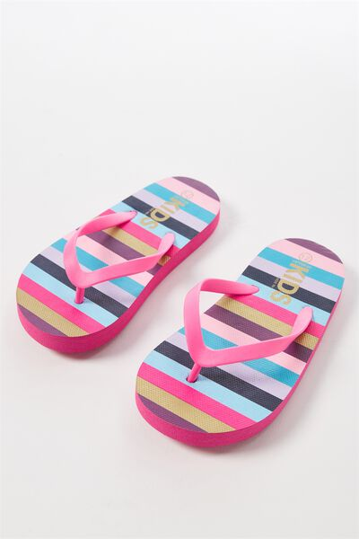 Printed Flip Flop, MULTI COLOUR STRIPE