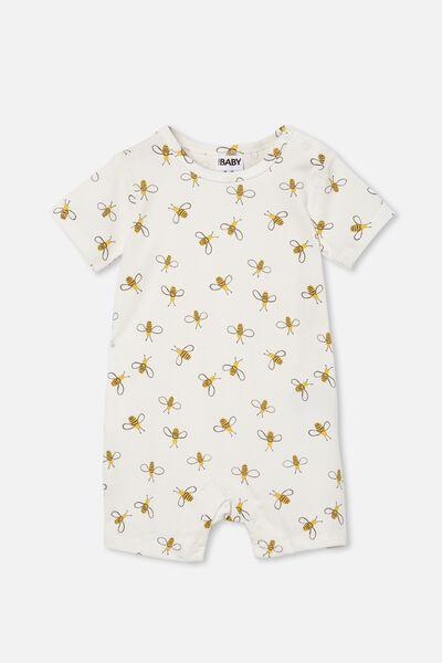 The Short Sleeve Romper, VANILLA/BUDDY BEE