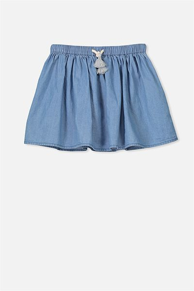 Elise Skirt, MID BLUE/CHAMBRAY