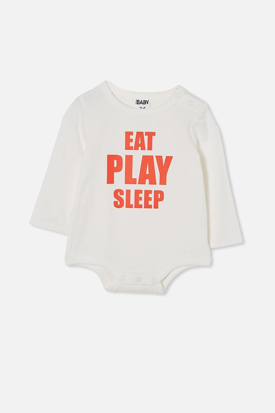 The Long Sleeve Bubbysuit, VANILLA/RED ORANGE EAT PLAY SLEEP