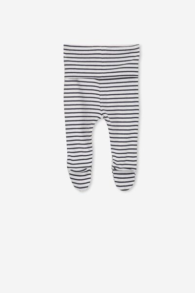 Newborn Footed Legging, VANILLA/INDIAN INK STRIPE