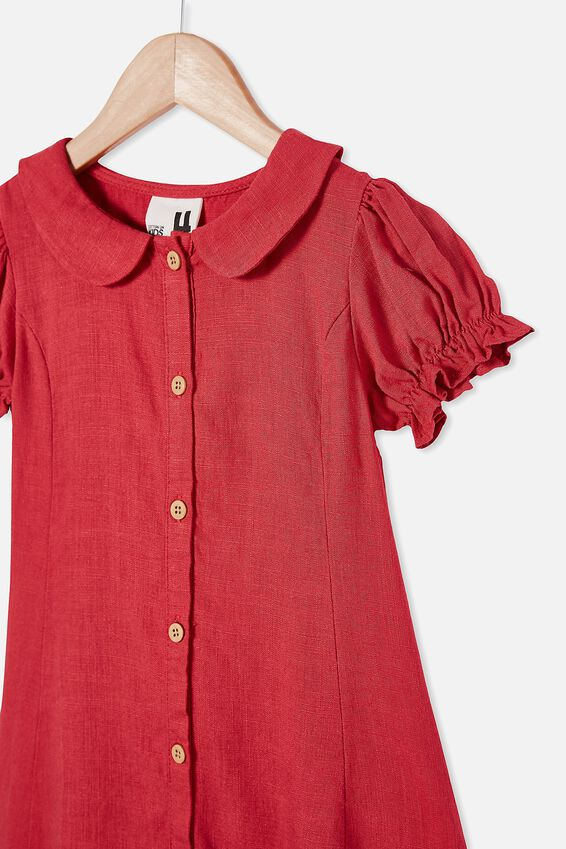 Evelyn Short Sleeve Dress, LUCKY RED