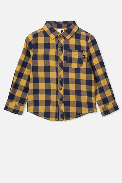 Rugged Long Sleeve Shirt, NAVY/GOLDEN BUFFALO