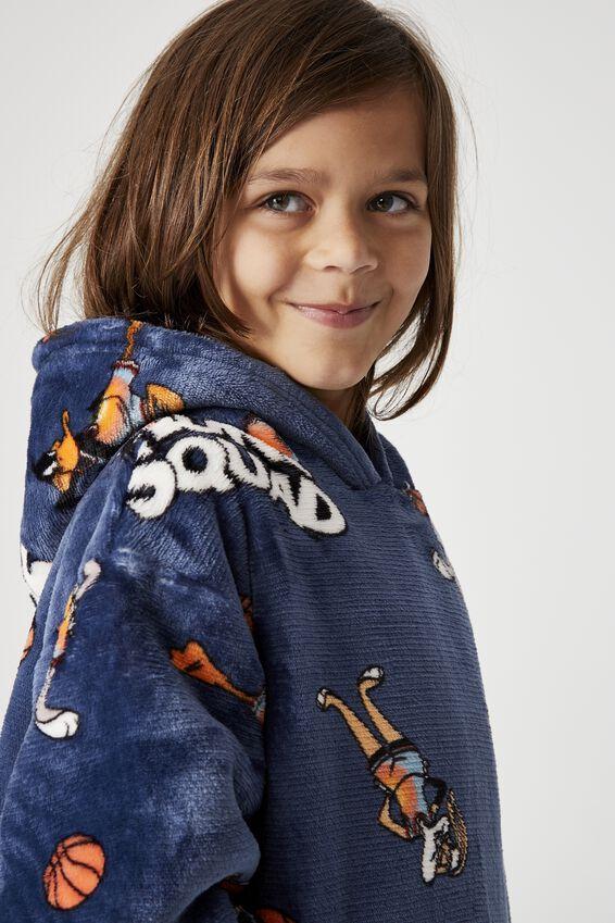 Space Jam Snugget Kids Oversized Hoodie, LCN SPACE JAM TUNE SQUAD DUSK BLUE