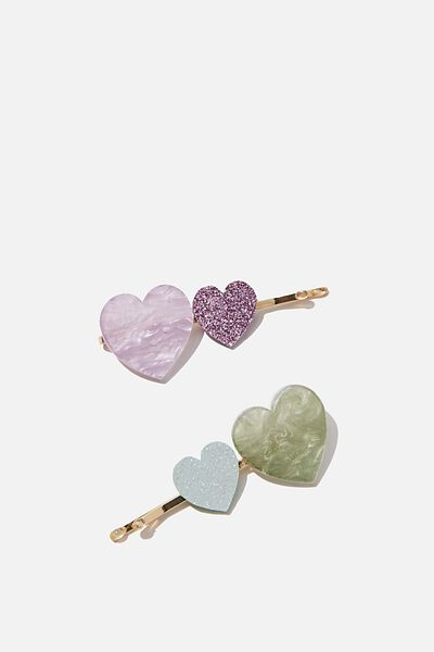 Hair Clips, S VINTAGE LILAC HEARTS