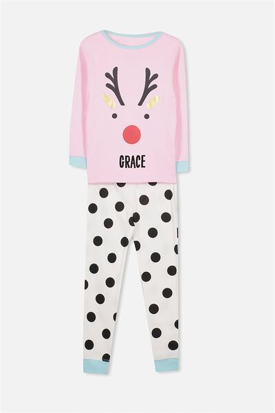 Personalised Alicia Girls Long Sleeve Pyjama Set, XMAS REINDEER SPOT