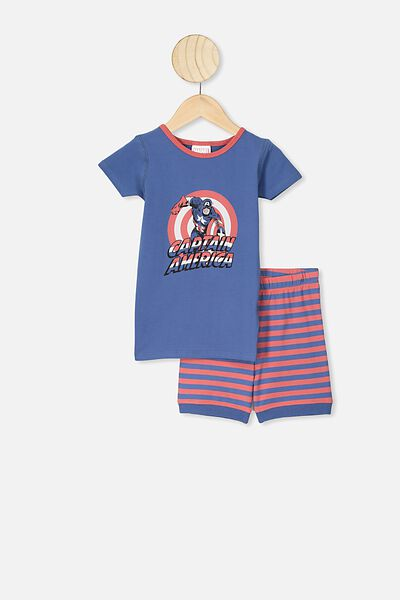 Ted Short Sleeve Pajama Set, LCN MAR PETTY BLUE/CAPTAIN AMERICA