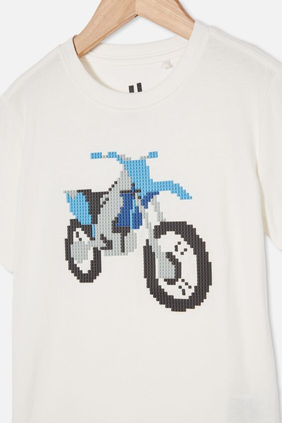 Downtown Short Sleeve Tee, RETRO WHITE / DIRT BIKE