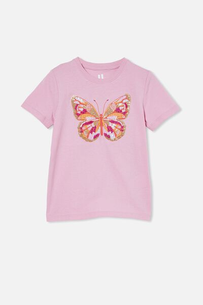 Stevie Short Sleeve Embellished Tee, ORCHID HAZE/ BUTTERFLY