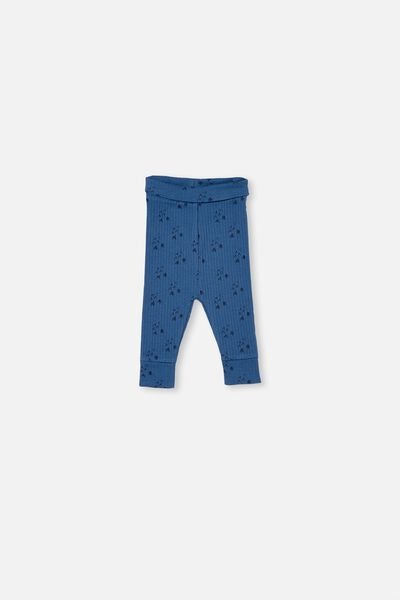Organic Newborn Legging, WHITE WATER BLUE/FOREST BEARS