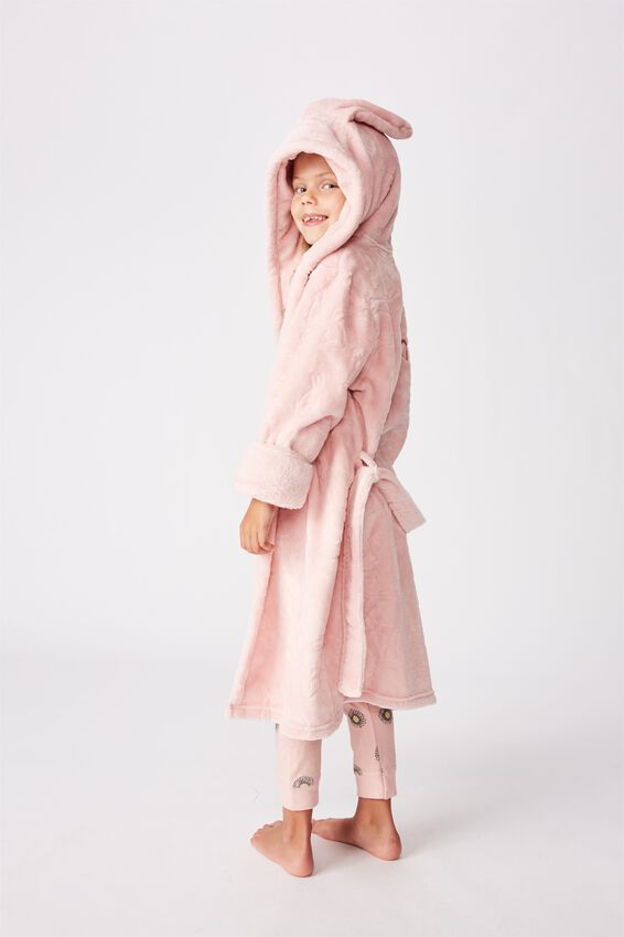 Girls Hooded Gown Personalised, ZEPHYR/FLORAL BUNNY