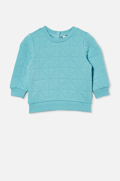 Greer Quilted Sweater, BLUE ICE