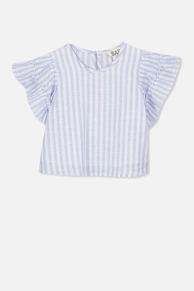 Blair Flutter Top, BLUE/VANILLA STRIPE