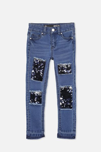Mia Sequin Patch Jean, BLUE WASH/SEQUIN PATCHES