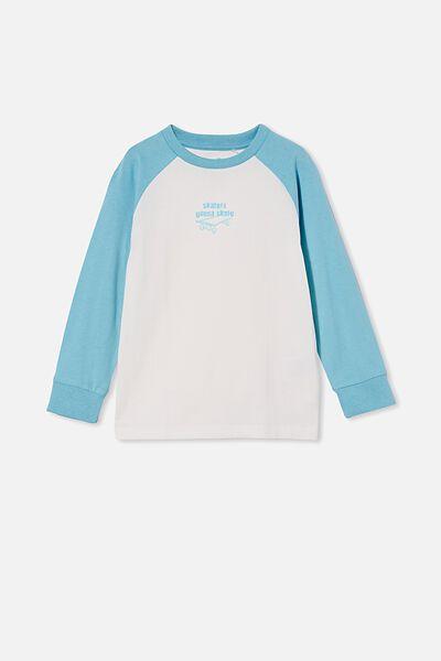 Max Long Sleeve Raglan Tee, BLUE ICE/SKATERS GONNA SKATE