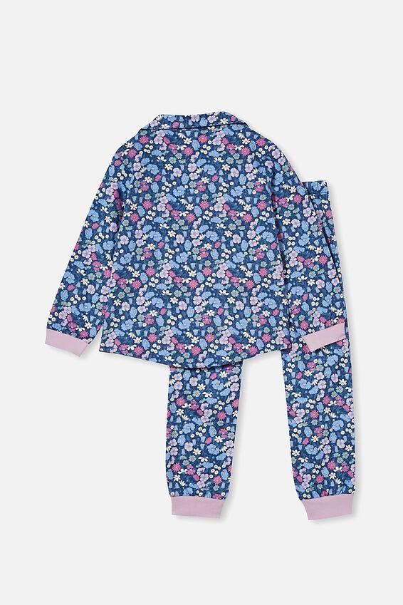 Angie Long Sleeve Pyjama Set, LIBBY FLORAL / PETTY BLUE