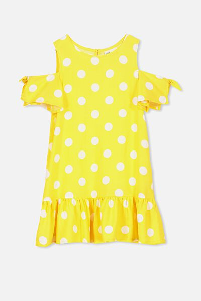 Ruby Cold Shoulder Dress, DUNGAREE YELLOW SPOT
