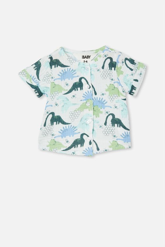 Mike Short Sleeve Shirt, VANILLA/PETROL TEAL DINO HIVE