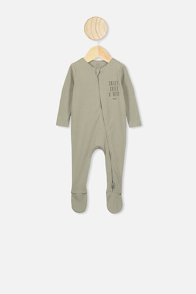 The Snug Long Sleeve Zip Romper, LCN BR GRAPHITE GREY/SWEET CHILD O'MINE