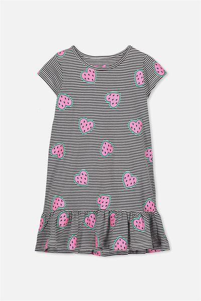 Elisha Short Sleeve Dress, PHANTOM STRIPE/WATERMELON HEARTS