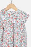 Milly Short Sleeve Dress, VANILLA/CALI PINK GARDEN FLORAL