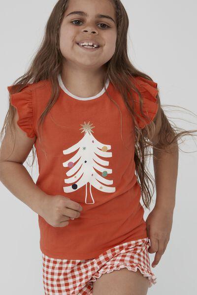 Stacey Short Sleeve Flutter Pyjama Set, XMAS TREE GINGHAM/RED ORANGE